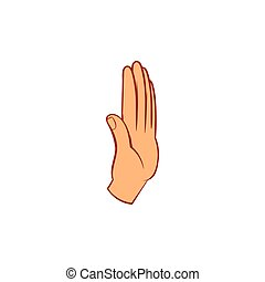 Stop gesture icon, cartoon style - Stop gesture icon in...
