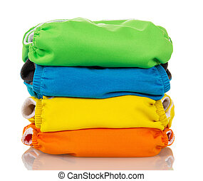 Stack environmentally friendly diapers isolated on white. -...