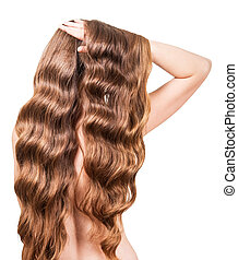 Girl with brown long wavy hair isolated on white background....