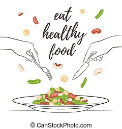healthy food concept - Eat healthy food concept. Fresh salad...
