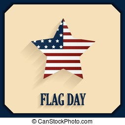 Flag Day poster with star. Vector illustration.