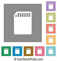 SD memory card square flat icons - SD memory card flat icon...