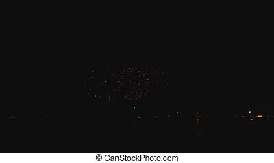 Bright Fireworks Michigan Lake - Pyrotechnics in Chicago...