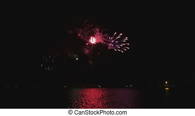 Bright Fireworks at Michigan Lake - Pyrotechnics in Chicago...