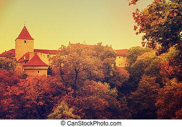 Prague Castle, old city with autumn trees , european travel...