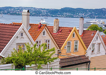 Typical old houses in Bergen UNESCO World Heritage Site,...