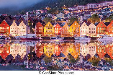 Famous Bryggen street in Bergen, UNESCO World Heritage Site,...