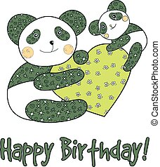 Panda with heart happy birthday card - Panda with heart...