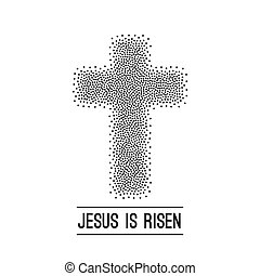 Easter background. He is risen. Halftone dots on dark...