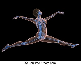 ballet dancer - 3d rendered illustration of a jumping female...