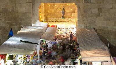 Damascus Gate entrance timelapse Old City Jerusalem...