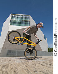 Bmx training - Bmx flatland training on a sunny day in a...