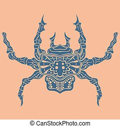 Vector of Abstract Spider Line art Blue tattoo on leather...