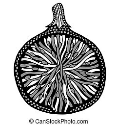 Fig fruit black and white Hand-drawn, doodle, vector Made by...
