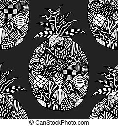 pineapple Hand drawn - Seamless pattern backgroud of...
