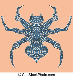 Vector of Abstract Spider. Line art. Blue tattoo on leather....