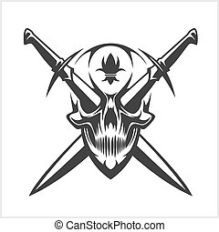 Skull and cross swords with symbol of the lily