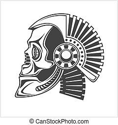 Robotic Skull on white background - Robotic Skull - head...