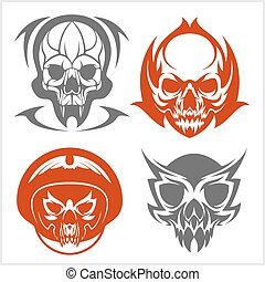 Set of tribal skulls for tattoo Isolated on white