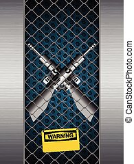 Guns cage with warning sign - Guns Crossing in A Brushed...