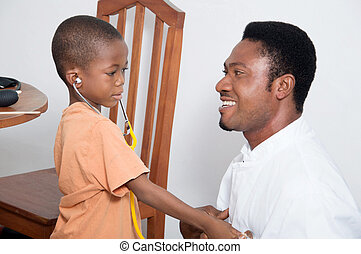 Child consolation. - The doctor is consulting with the child...