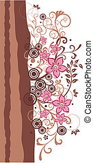 Brown and pink floral border vector illustration