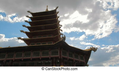 Chinese Architecture Against Clouds - Chinese example of...