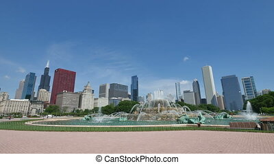 Chicago Downtown Skyline from the Buckingham Fountain View....