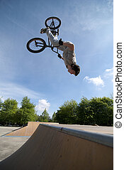 BMX Bike Stunt Back Flip - Bmx Back Flip on a skatepark