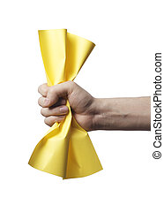 Yellow paper - Hand holding a crumpled yellow paper.