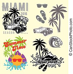 set of emblems and design elements for templates to summer...