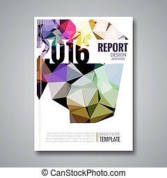 Cover report colorful triangle geometric prospectus design...