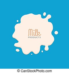 Milk Splashing Isolated on blue background. Milk splatter...
