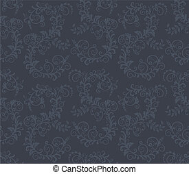 Seamless dark grey floral pattern vector illustration
