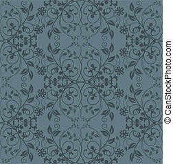 Seamless grey floral wallpaper