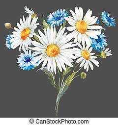 Watercolor wild flowers composition - Beautiful composition...