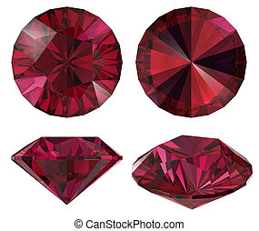 Diamond red star isolated - Diamond red star different view...