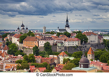 Tallinn - Aerial image of Old Town Tallinn in Estonia