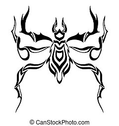 Vector of Abstract Spider. Line art. Black and white Hand...