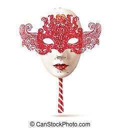 White realistic carnival mask with red lacy top and striped handle