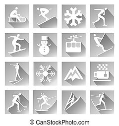 Winter sport icons - Winter sport grey web icons set of...