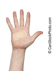 Bandage - Hand with an adhesive bandage.