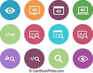 Monitoring circle icons on white background. - Observation...