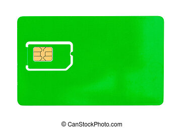 Green SIM card for a mobile phone with an empty space for...
