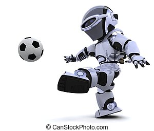robot playing soccer - 3D render of a robot playing soccer
