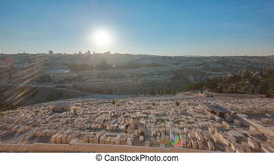 Jerusalem panorama view over the City at sunset timelapse with the Dome of the Rock from the Mount of Olives.