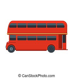 Red London Double Decker Bus isolated on white background. Vector