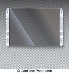 Glass plate with metal frame and bolts on transparent...