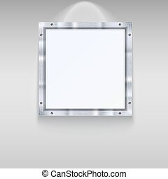 White plate with metal frame and bolts on wall background....