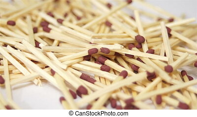 Wooden Match Pile Dolly Macro - Close up macro dolly shot of...